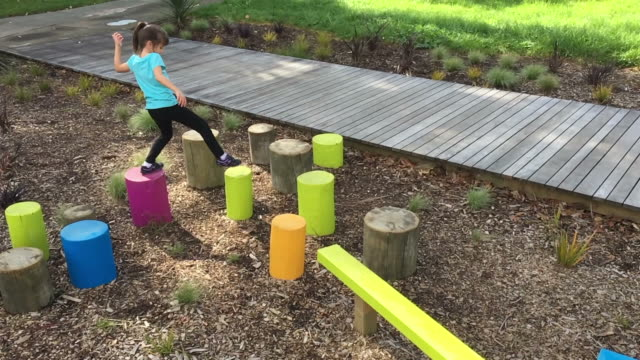 child girl play on obstacle course - obstacle course stock videos & royalty-free footage