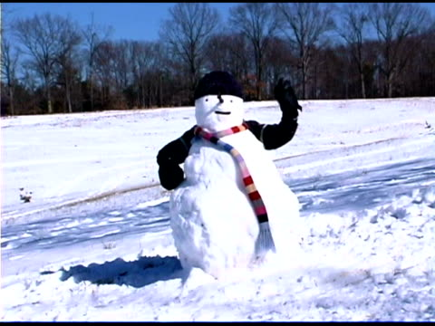child hiding behind snowman and waving - shrugging stock videos and b-roll footage