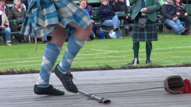 cu child highland dancing at braemar royal highland games / braemar, aberdeenshire, scotland - highland games stock videos & royalty-free footage