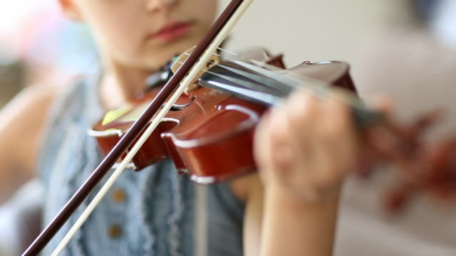 child learning to play violin - violin stock videos & royalty-free footage