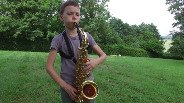 child playing saxophone outdoors, in the country - saxophone stock videos and b-roll footage