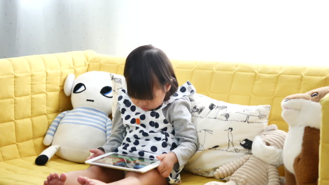 Child playing with a digital tablet