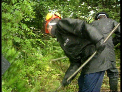 essexbasildon bv police officers searching undergrowth ms ditto cms officer using scythe to cut undergrowth nat - essex ostengland stock-videos und b-roll-filmmaterial