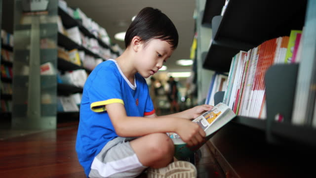 child reading a book in the library - reading stock videos & royalty-free footage