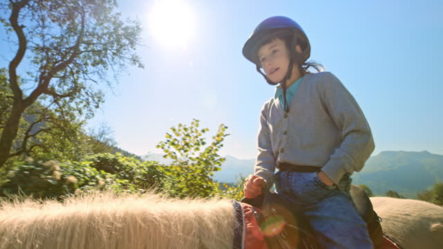 child sitting on the back of a horse walking in sunny nature - recreational horseback riding stock videos & royalty-free footage