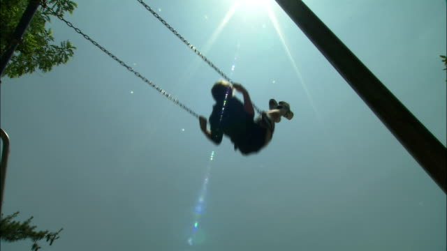 a child swings on a swing. - apse stock videos & royalty-free footage