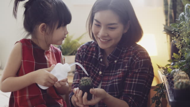 child taking care of plants with her mother at home. - two generation family stock videos & royalty-free footage