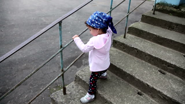 child walking down stairs - railings stock videos and b-roll footage