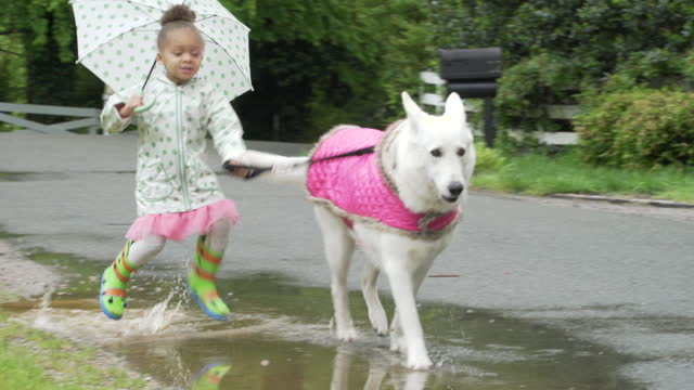 Child walking in rain with dog