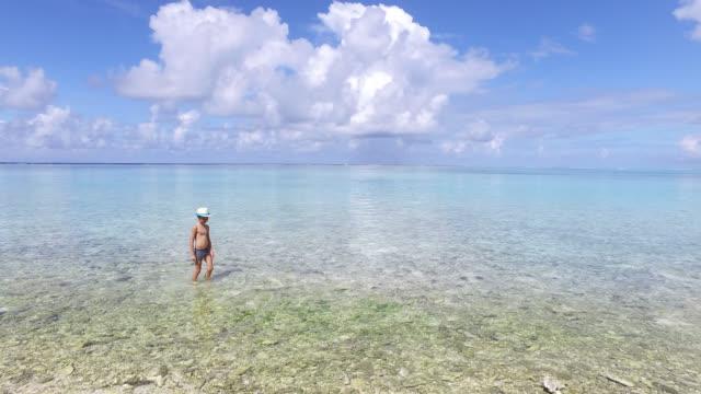 vídeos de stock e filmes b-roll de child walking in the sea - ilha huahine
