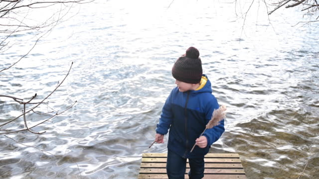 vídeos de stock, filmes e b-roll de child walking on a wooden pier of a lake in winter with a twig in his hand. he is looking for something.  germany. brandenburg - ramo parte de uma planta