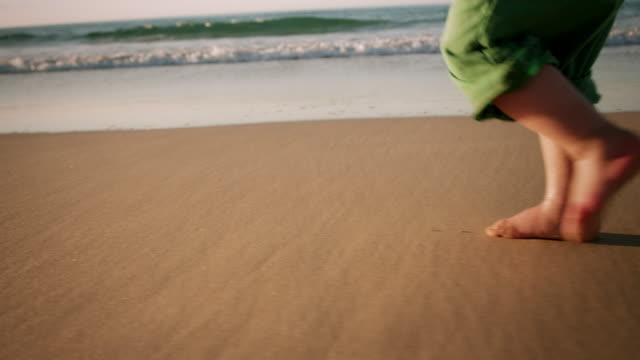 child walking on beach - human foot stock videos & royalty-free footage