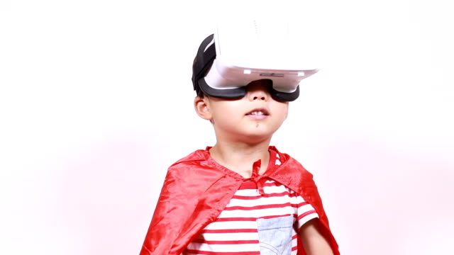 child with a virtual reality game - black hair stock videos & royalty-free footage