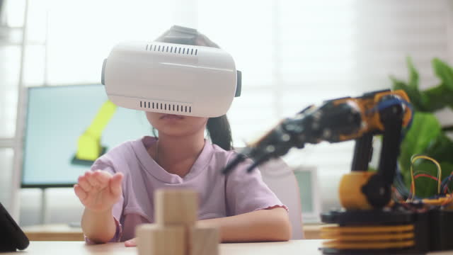 child with technology - virtual reality stock videos & royalty-free footage