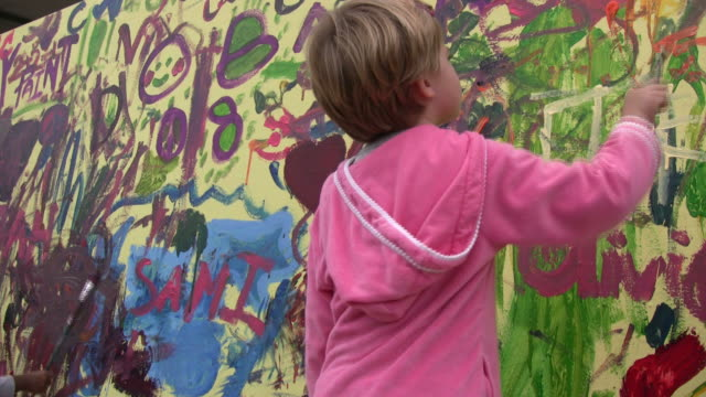 (HD1080i) Childhood Accident: Young Girl Paints Mural, Splashes Eye