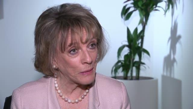 Childline launch new smartphone app ENGLAND London INT Dame Esther Rantzen interview SOT