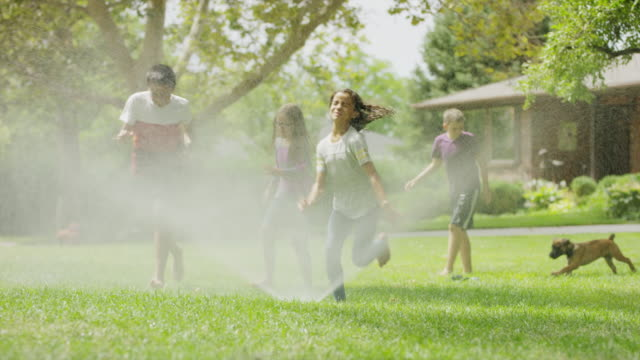 Children and dog running and jumping through sprinkler / Provo, Utah, United States