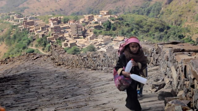 children and street scenes in raymah a remote mountain village in yemen - yemen stock videos & royalty-free footage