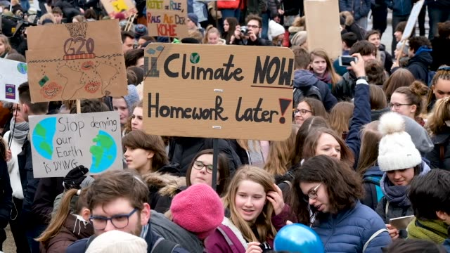 Children and students participate in a FridaysForFuture climate protest march on March 15 2019 in Berlin Germany According to organizers striking...