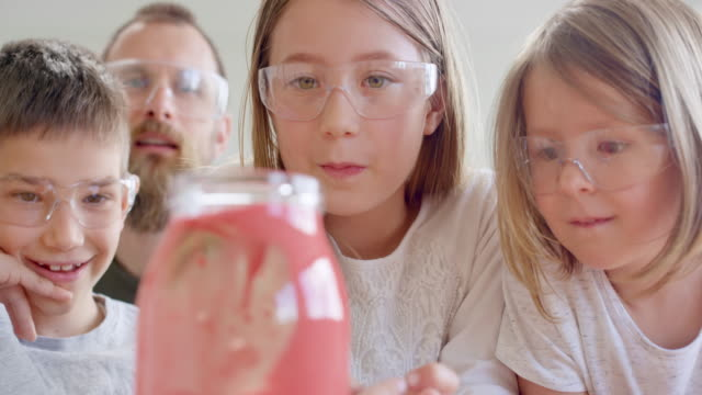 children and their male teacher observing a science experiment - chemistry stock videos & royalty-free footage