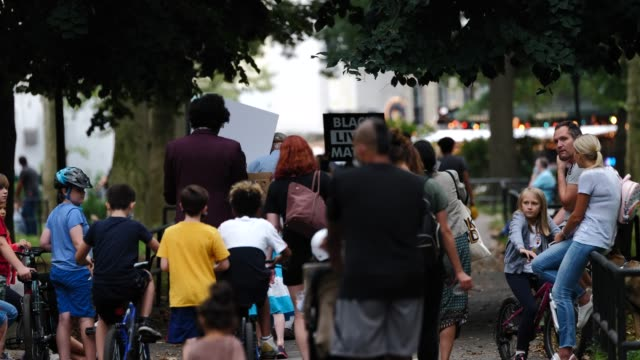 children and their parents participate and march in solidarity with the black lives matter movement around mcgolrick park on september 17 in... - generation z stock videos & royalty-free footage