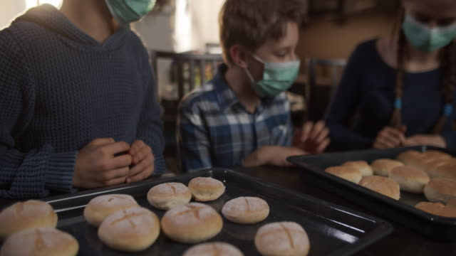 children baked bread buns at home - baking stock videos & royalty-free footage