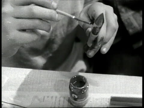 children build, paint and sand model airplanes and rockets. - 1960 stock videos & royalty-free footage