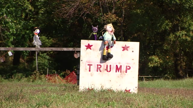 Children catapulting pumpkins at a Donald Trump effigy in Philadelphia