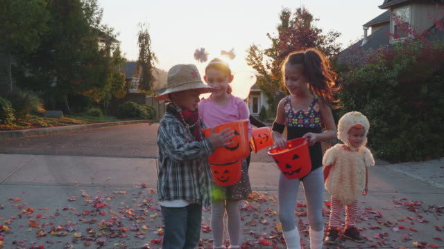 children comparing buckets of candy for halloween - costume stock videos & royalty-free footage