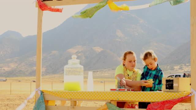 stockvideo's en b-roll-footage met kinderen tellen van geld op een landelijke lemonade stand - utah