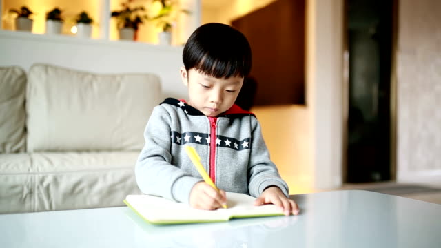 Children do homework at home