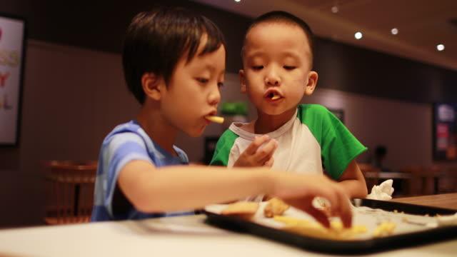 children eat lunch - prepared potato stock videos & royalty-free footage