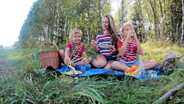 children eating at picnic in forest - picnic stock videos & royalty-free footage
