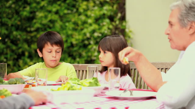 stockvideo's en b-roll-footage met children eating in the garden with their family / cape town, western cape, south africa - goede manieren