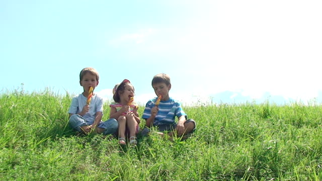 Children enjoy eating an ice cream in summer day.