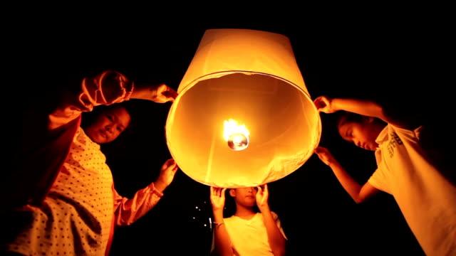 Children Floating Sky Lantern