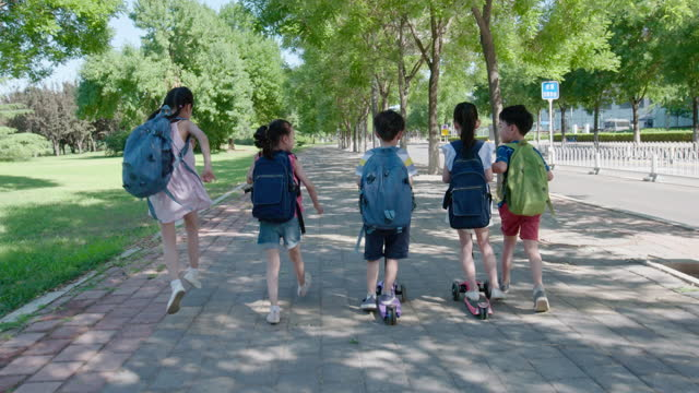children going to school,4k - first day of school stock videos & royalty-free footage
