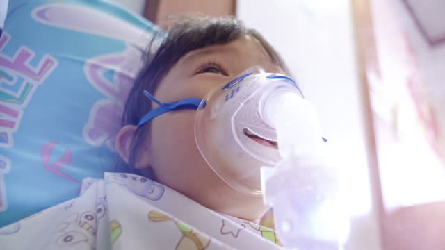 children has asthma and need nebulizations - respiratory system stock videos & royalty-free footage