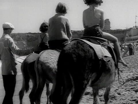 stockvideo's en b-roll-footage met children having a donkey ride on the beach - paardachtigen