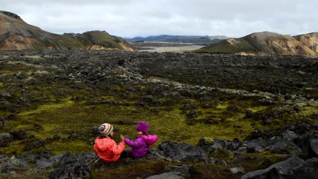Children hiking in Landmannalaugar Iceland