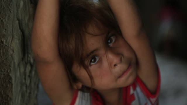 children in a poor area of gaza on october 23 2016 - palestine girl stock videos and b-roll footage