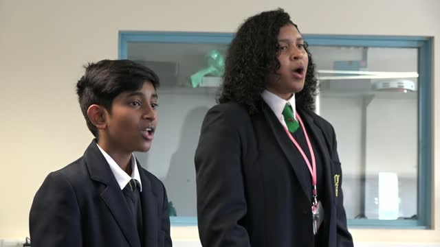 children in brent join up with the royal philharmonic orchestra to create anthem for the capital; england: london: int keyboard being played sot... - singing stock videos & royalty-free footage