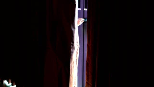 children in food costumes peeking at camera from behind stage curtain - sbirciare video stock e b–roll