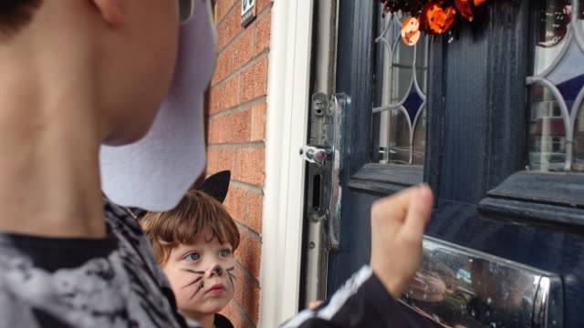 children in halloween costumes - five people stock videos & royalty-free footage