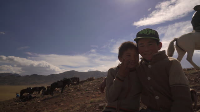 children in mongolia watch events at golden eagle festival - cap stock videos & royalty-free footage