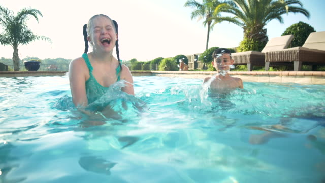 children in pool, girl with down syndrome - 10 11 years stock videos & royalty-free footage