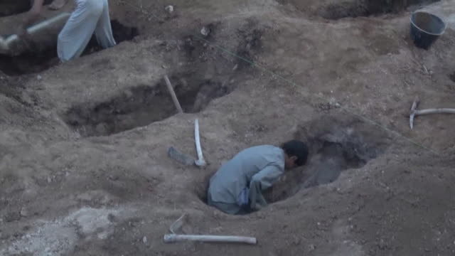 children in saada province yemen helping to dig graves for 29 children killed by a saudi air strike on a bus - luftangriff stock-videos und b-roll-filmmaterial