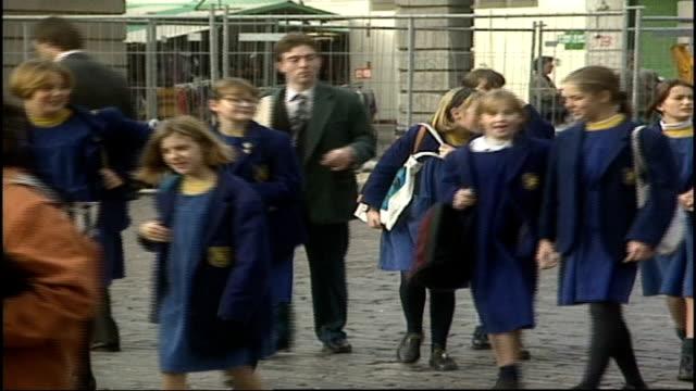 children in school uniforms walking down london streets - school uniform stock videos & royalty-free footage