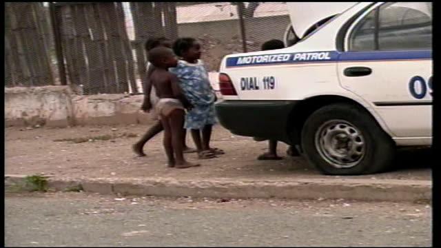 Children in small town in Jamaica