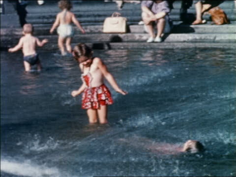 1960 children in swimsuits playing in fountain / washington square park / greenwich village, nyc - 1960 stock videos & royalty-free footage